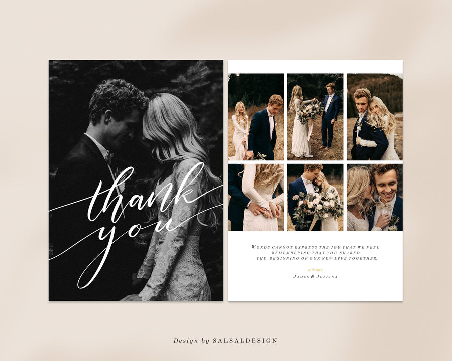 Wedding Thank You Card Template | Black & White