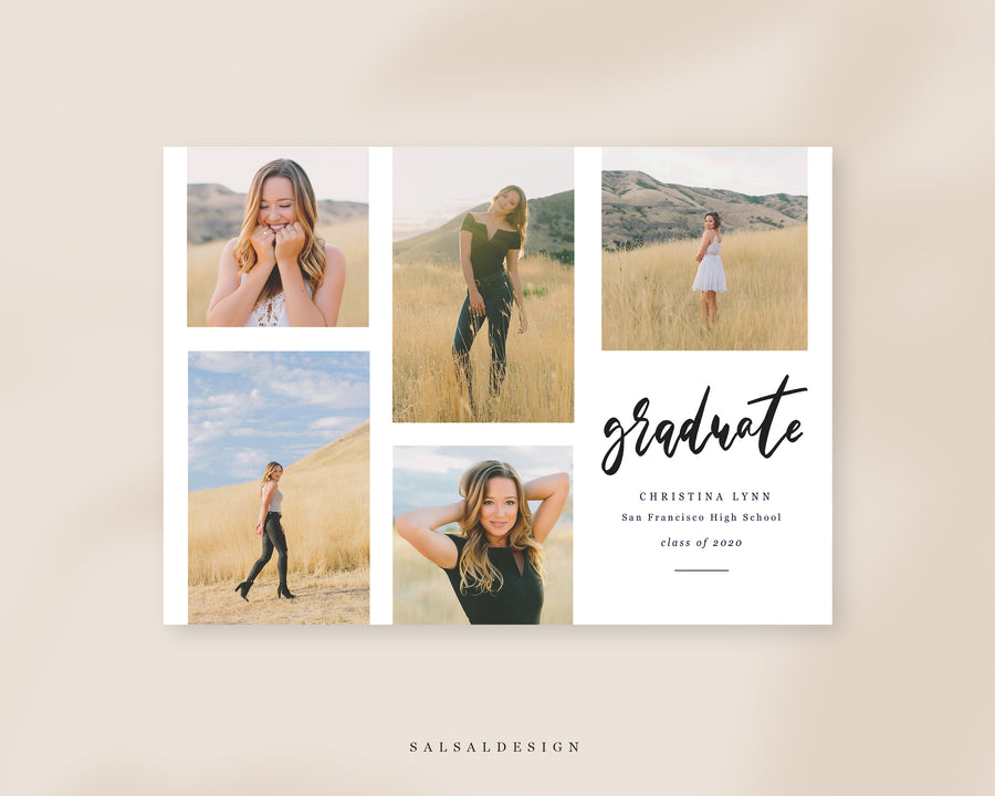 Graduation Senior Announcement Card Photoshop Template - Sunshine