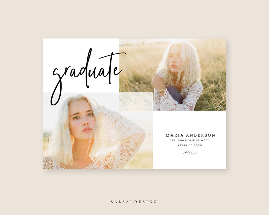 Graduation Senior Announcement Card Photoshop Template - Soft Glow