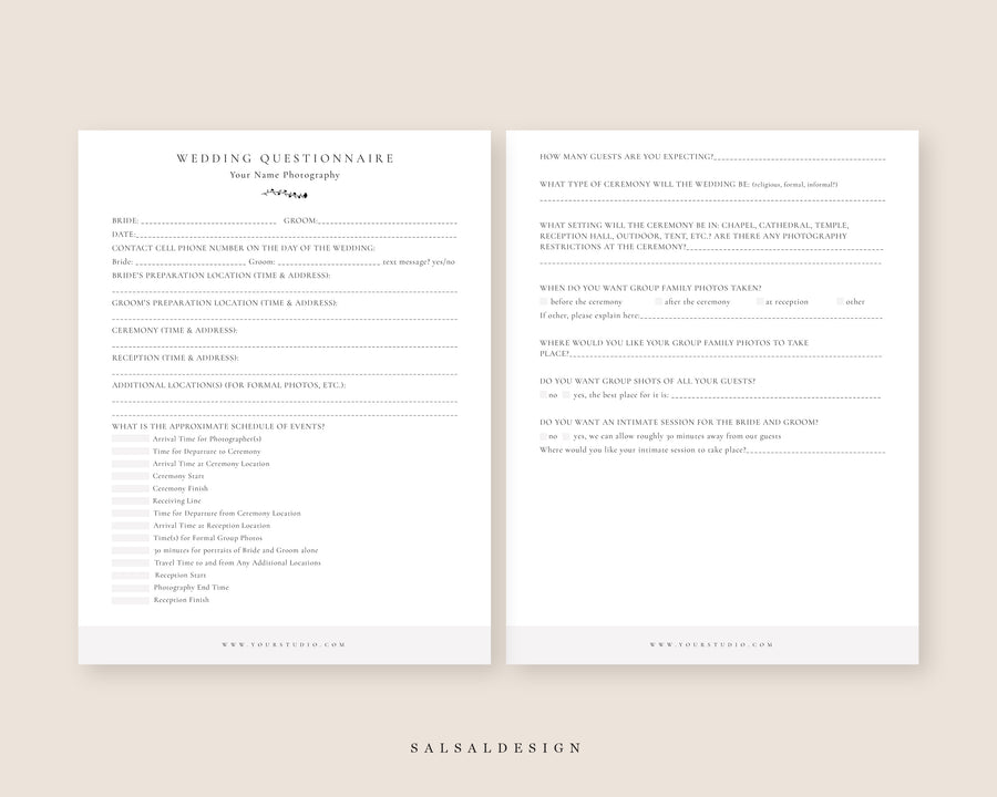 Wedding Photography Questionnaire - Form