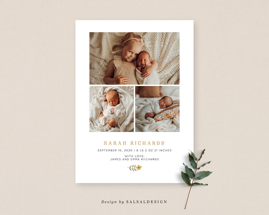 Birth Announcement Card - Sunrise