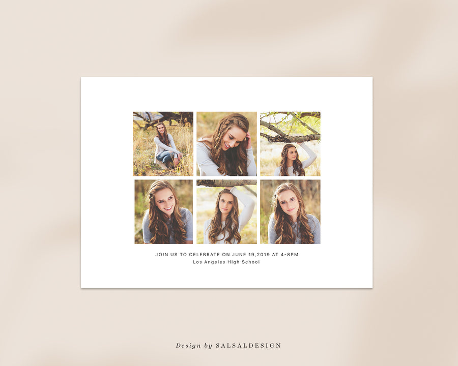 Graduation Senior Announcement Card Photoshop Template - Clean