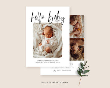 Birth Announcement Card - Baby Baby
