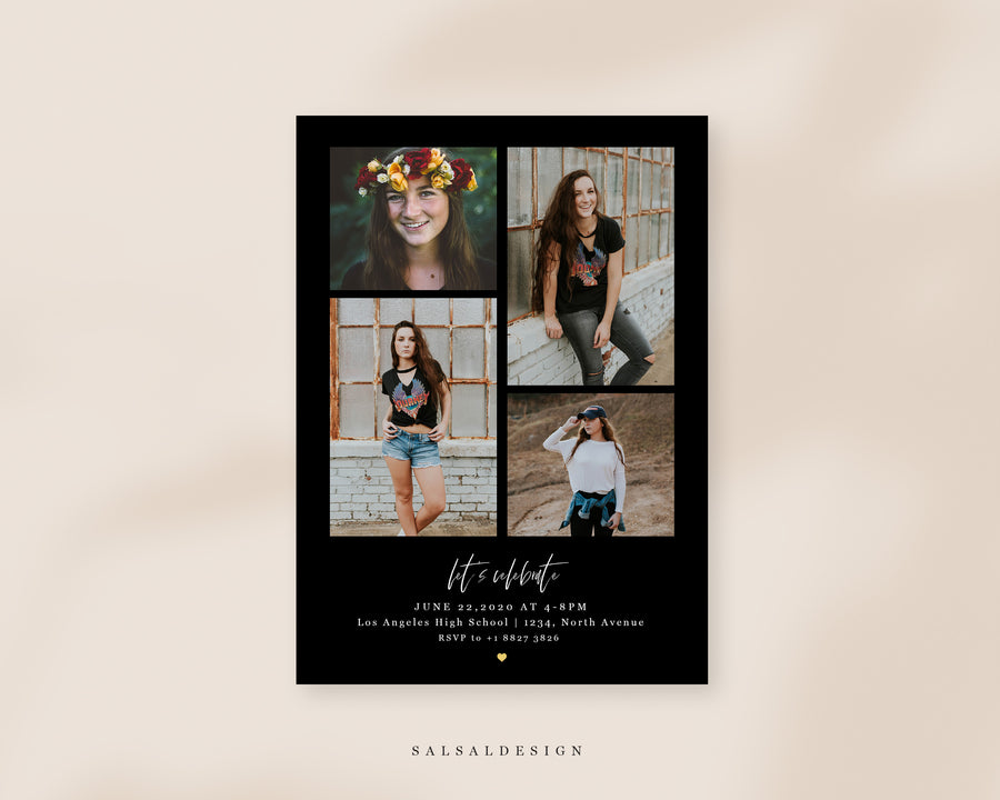 Graduation Senior Announcement Card Photoshop Template - Love White