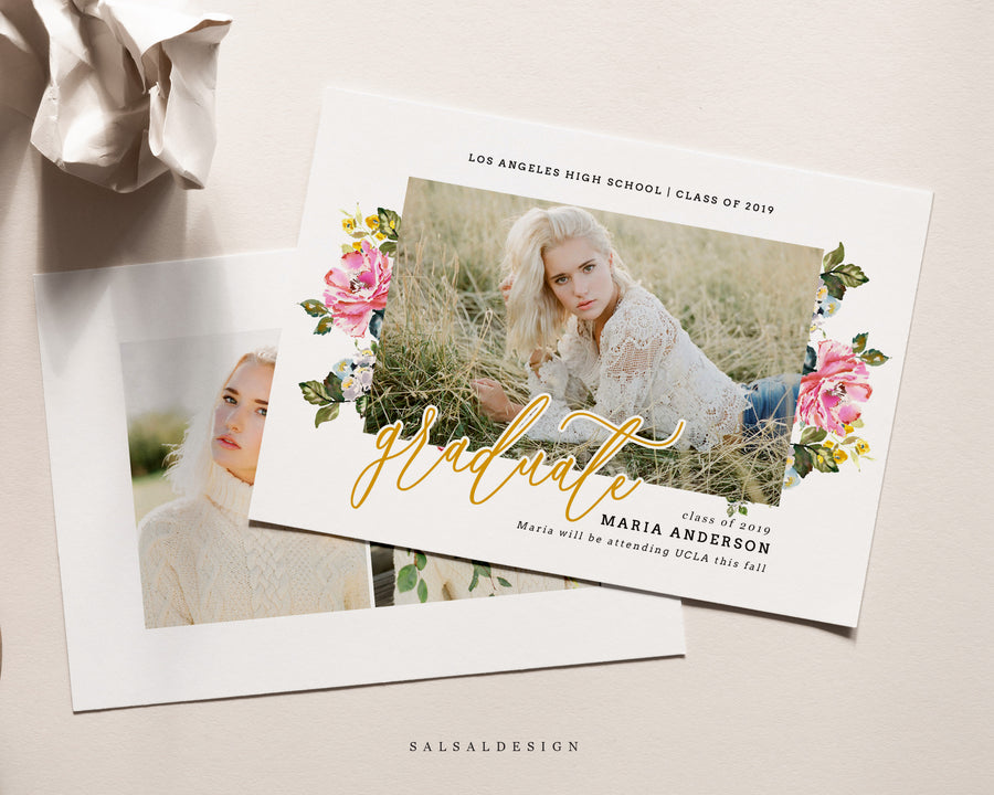 Graduation Senior Announcement Card Photoshop Template - Soft Spring
