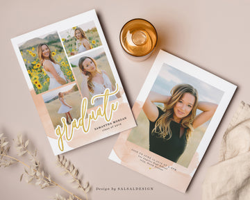 Graduation Senior Announcement Card Photoshop Template - Sweet watercolor