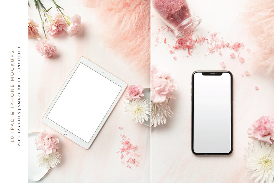 Carnation Blush Screen Mockups Collection | 10 Stock Images