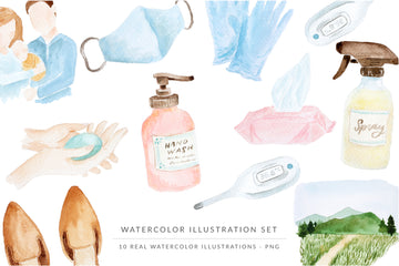 Watercolor Illustrations Pack - Covid-19