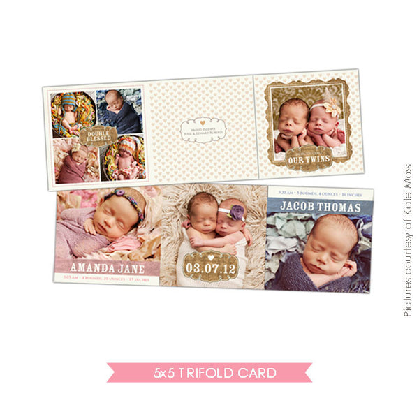Twins birth announcement accordion card 5x5 | Doubly blessed