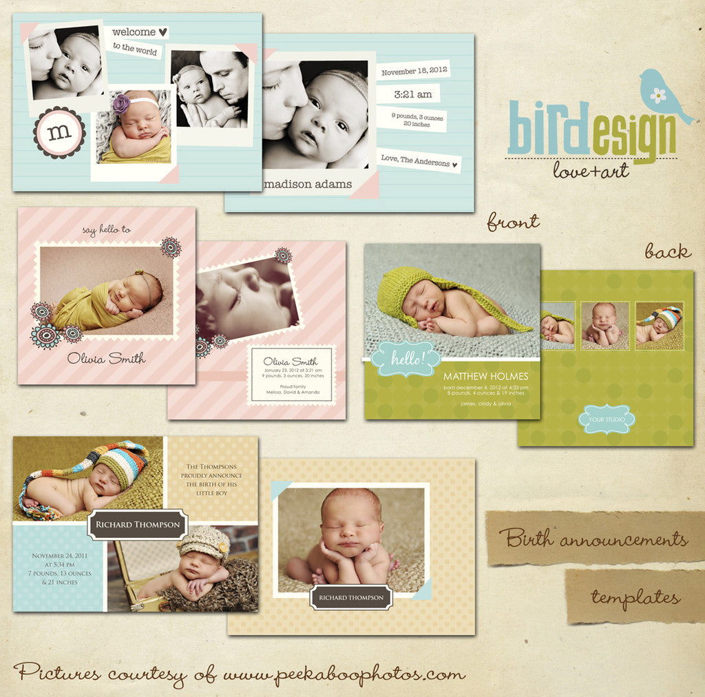 Birth announcement card template, templates for photographers