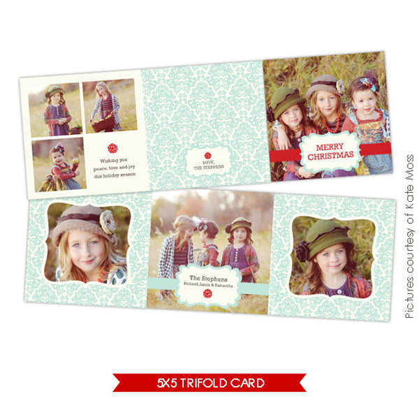 Holiday accordion card 5x5 | Angels