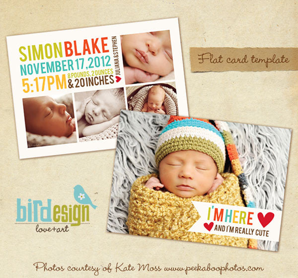 PSD digital template birth announcement
