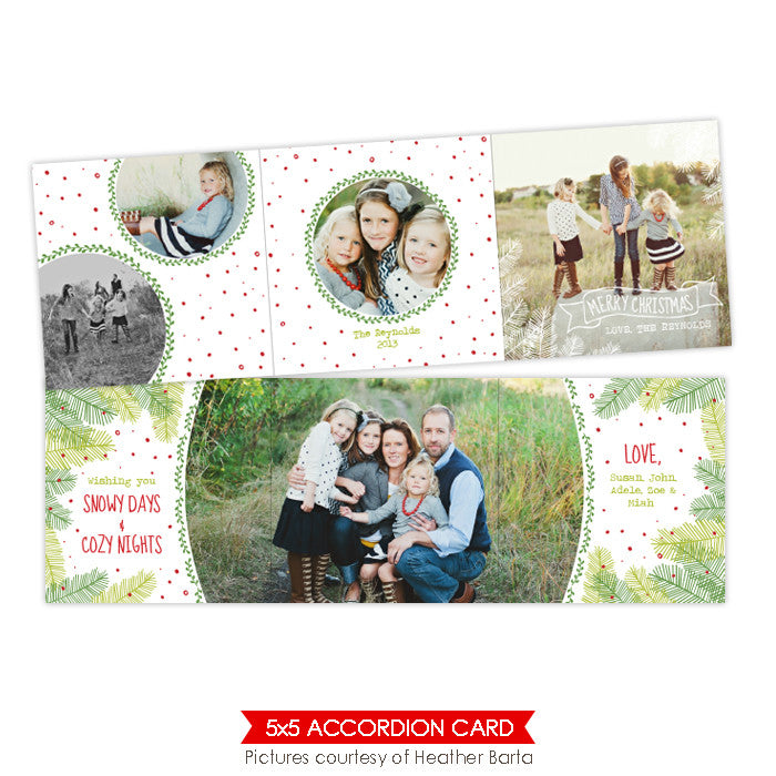 Holiday accordion card 5x5 | Family tree - e951