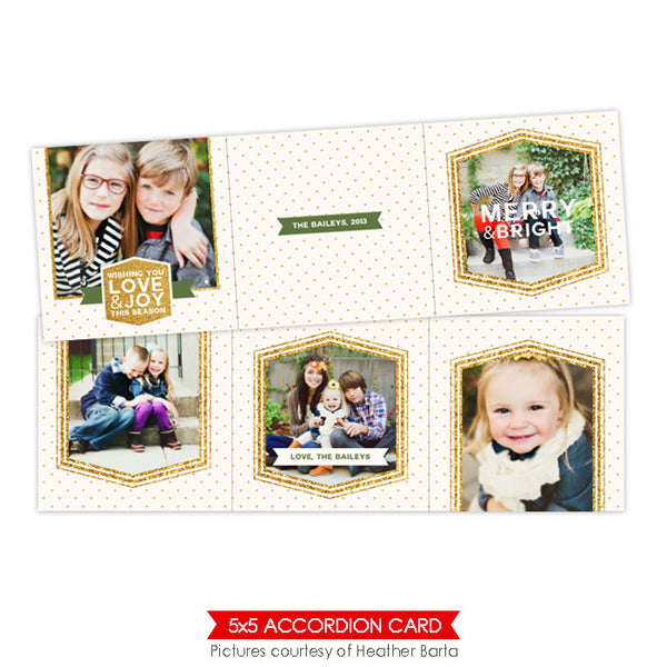Holiday accordion card 5x5 | Glitter frames - e955