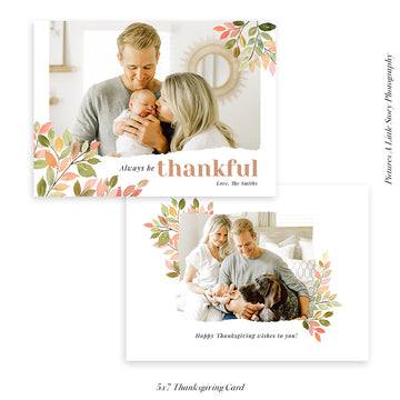 Thanksgiving Photocard Template | Pink & Green