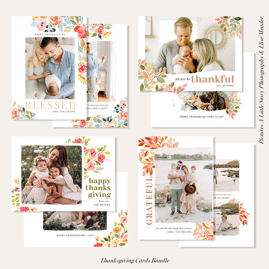 Thanksgiving Photocard Templates Bundle | Thankful Set