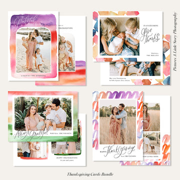 Thanksgiving Photocard Templates Bundle | Watercolor Cubes