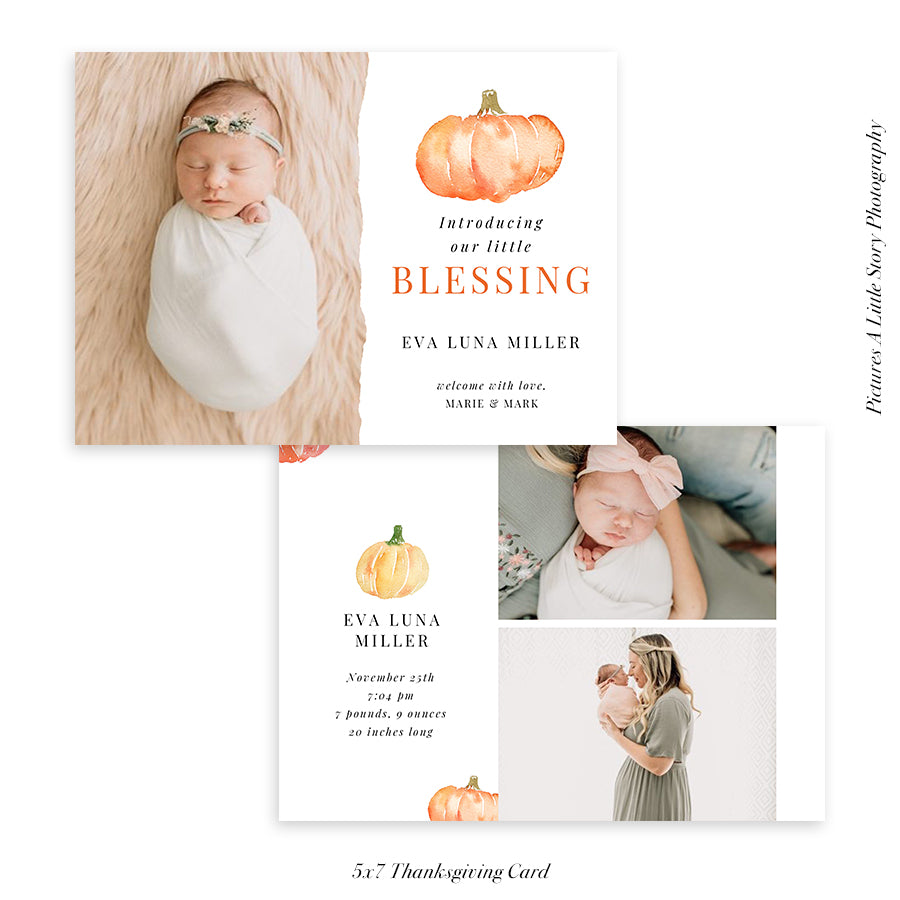 Thanksgiving Photocard Template | Pumpkin Blessing