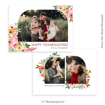 Thanksgiving Photocard Template | Floral Arch