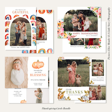 Thanksgiving Photocard Templates Bundle | Lovely Fall