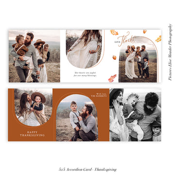 Thanksgiving accordion card 5x5 (Trifolded) | Autumn Arches