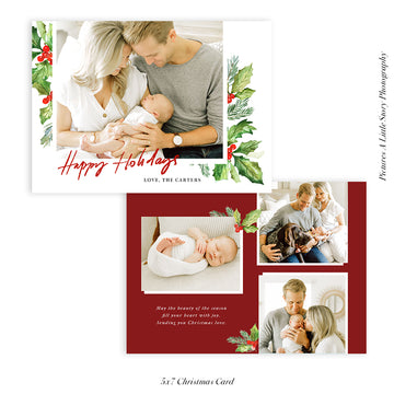 Christmas Photocard Template | Winter Greens