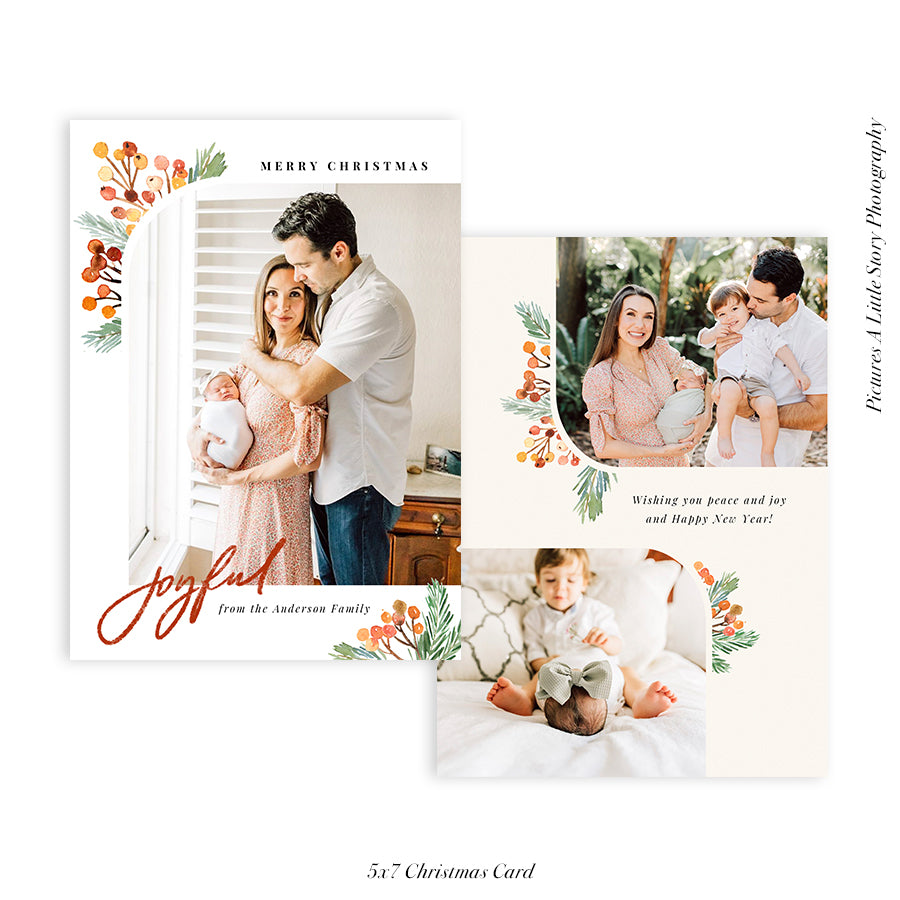 Christmas Photocard Template | Evergreen Foliage