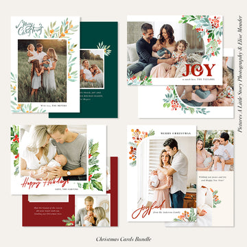 Christmas Photocard Templates Bundle | Winter Watercolor
