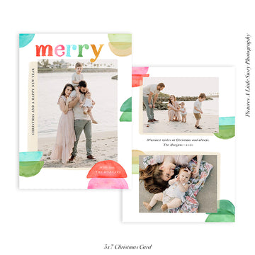 Christmas Photocard Template | Merrily Bright
