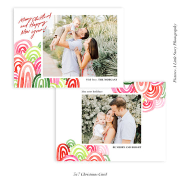 Christmas Photocard Template | Colorful Mountains