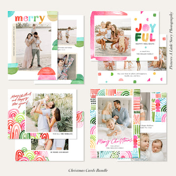 Christmas Photocard Templates Bundles | Warm Wishes