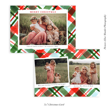 Christmas Photocard Template | Holiday Plaids