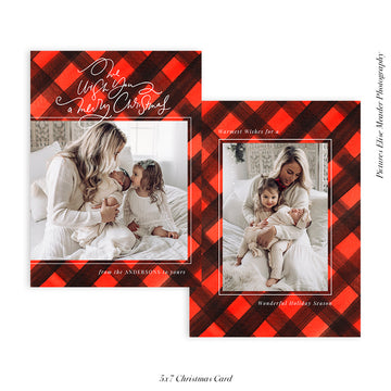 Christmas Photocard Template | Christmas Buffalo Plaids