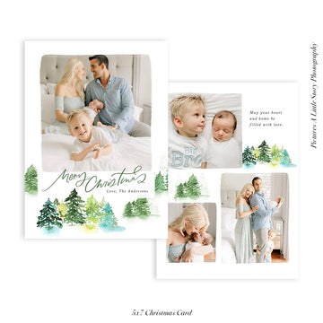 Christmas Photocard Template | Snowy Trees