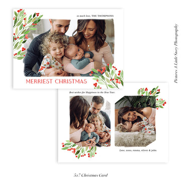 Christmas Photocard Template | Holly Berry