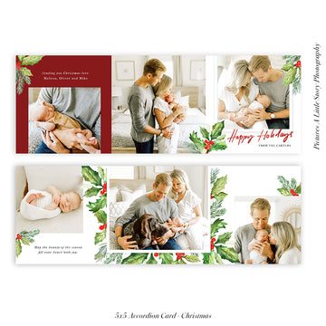 Christmas accordion card 5x5 (Trifolded) | Holly Berries