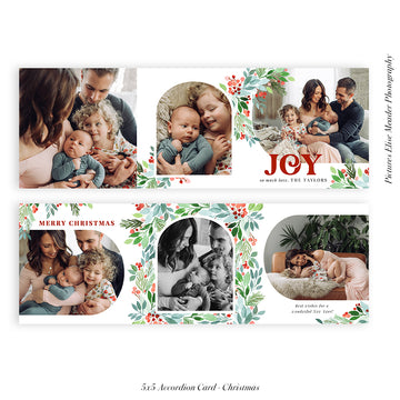 Christmas accordion card 5x5 (Trifolded) | Sending Joy