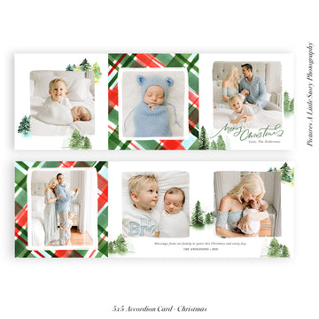 Christmas accordion card 5x5 (Trifolded) | Oh Christmas Tree