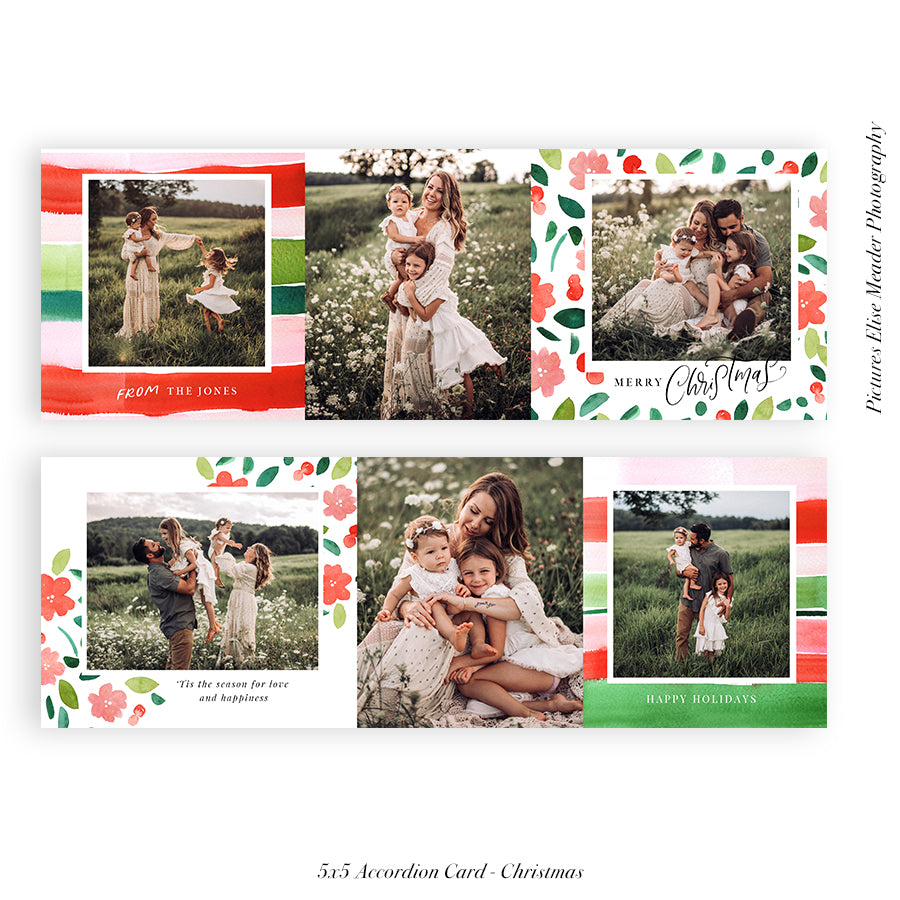 Christmas accordion card 5x5 (Trifolded) | Berries and Blooms