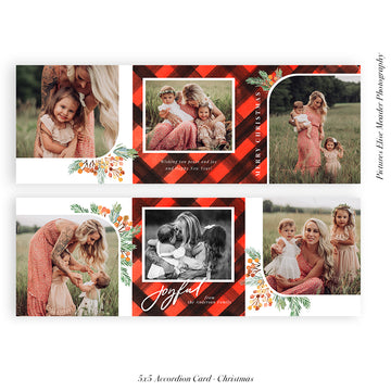 Christmas accordion card 5x5 (Trifolded) | Classic Plaids