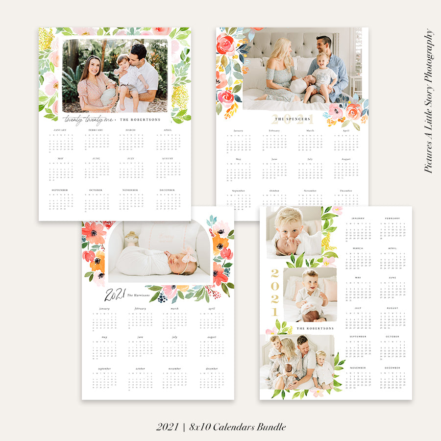 2021 Photo Calendar 8x10 | Floral Bundle