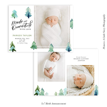Quarantine Birth Announcement Photocard | Green Forest