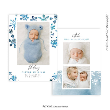 Quarantine Birth Announcement Photocard | Winter Snow