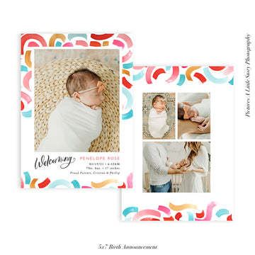 Quarantine Birth Announcement Photocard | Colorful Welcoming