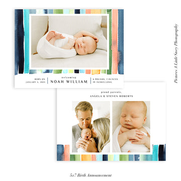 Birth Announcement Photocard | Blue Stripes