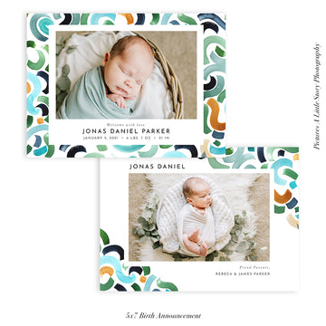 Birth Announcement Photocard | Blue Love