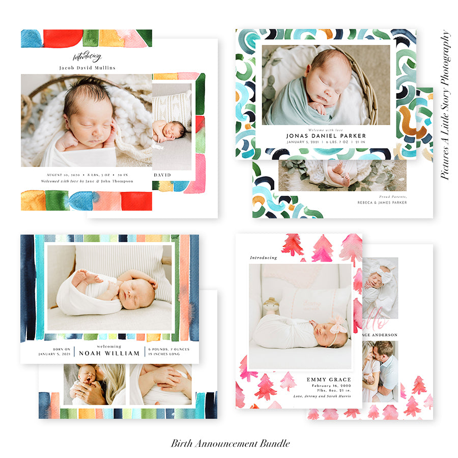 Birth Announcement Photocard Bundle | Hello Baby