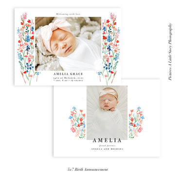 Birth Announcement Photocard | Ditsy Flowers