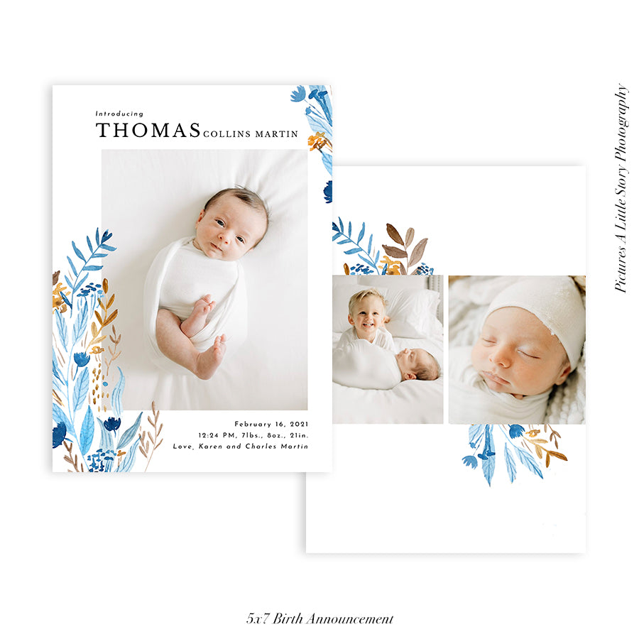 Birth Announcement Photocard | Floral Arrival