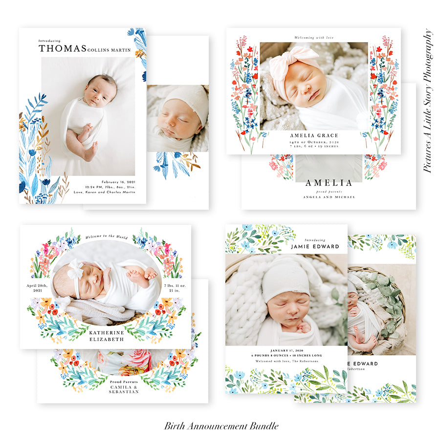 Birth Announcement Photocard Bundle | Bundle of Joy